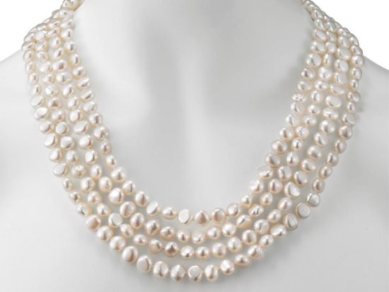 MASTOLONI - 8-8.5MM White Baroque Freshwater Pearl Strand 100 Inches