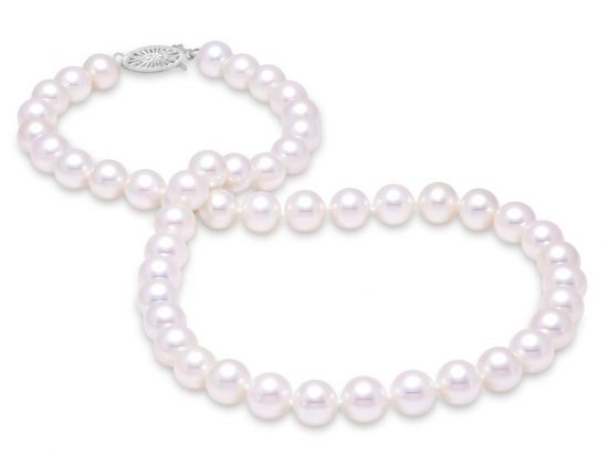 "MASTOLONI - 14K White Gold 10.5-11.5MM White Round ""A"" Quality Freshwater Pearl Strand 16 Inches"