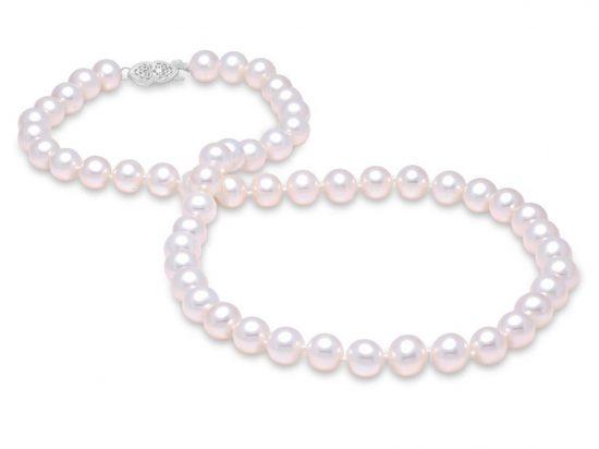 "MASTOLONI - 14K White Gold 10.5-11.5MM White Round ""A"" Quality Freshwater Pearl Strand 18 Inches"