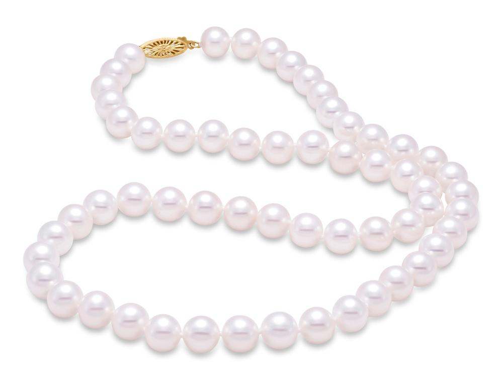 "MASTOLONI - 14K White Gold 10.5-11.5MM White Round ""A"" Quality Freshwater Pearl Strand 24 Inches"