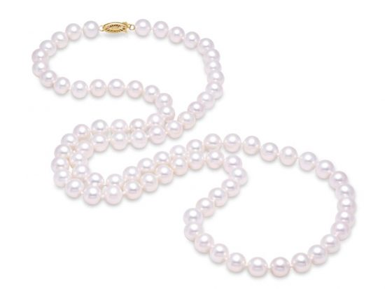 "MASTOLONI - 14K White Gold 10.5-11.5MM White Round ""A"" Quality Freshwater Pearl Strand 30 Inches"