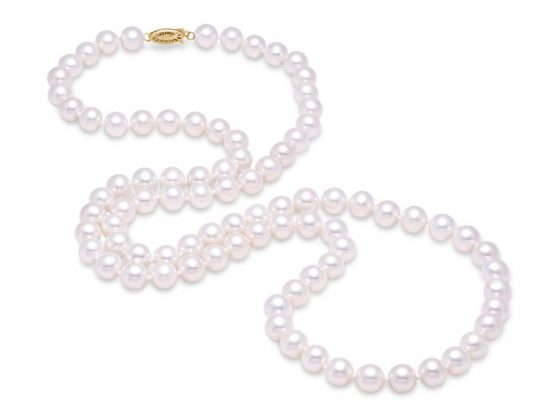 "MASTOLONI - 14K Yellow Gold 10.5-11.5MM White Round ""A"" Quality Freshwater Pearl Strand 34 Inches"