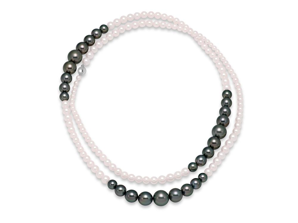 MASTOLONI - 14K White Gold 4-11+MM Multicolor Black Round Tahitian and White Round Akoya Pearl Strand 36 Inches