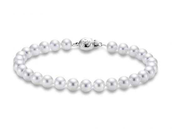 "MASTOLONI - 18K White Gold 5.5-6MM White Round ""A"" Quality Akoya Pearl Strand 7 Inches"