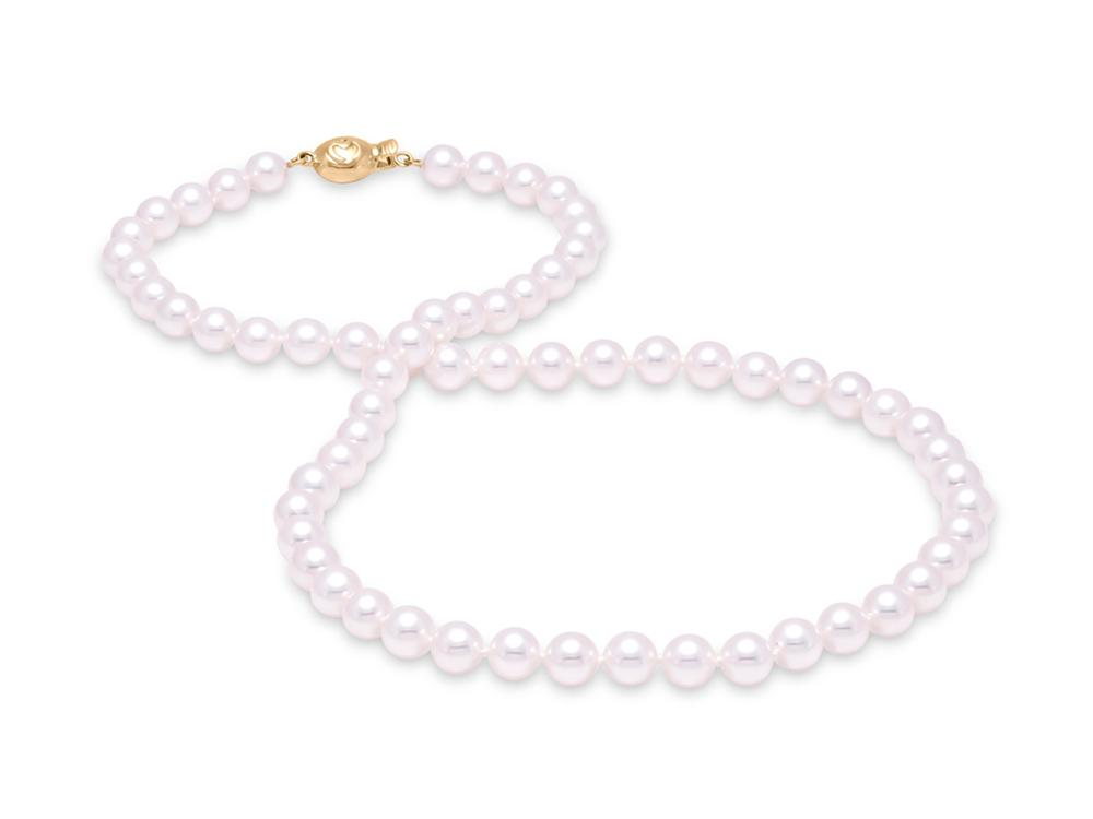"MASTOLONI - 18K Yellow Gold 5.5-6MM White Round ""A"" Quality Akoya Pearl Strand 16 Inches"