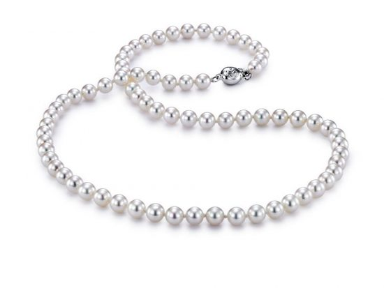 "MASTOLONI - 18K White Gold 5.5-6MM White Round ""A"" Quality Akoya Pearl Strand 18 Inches"