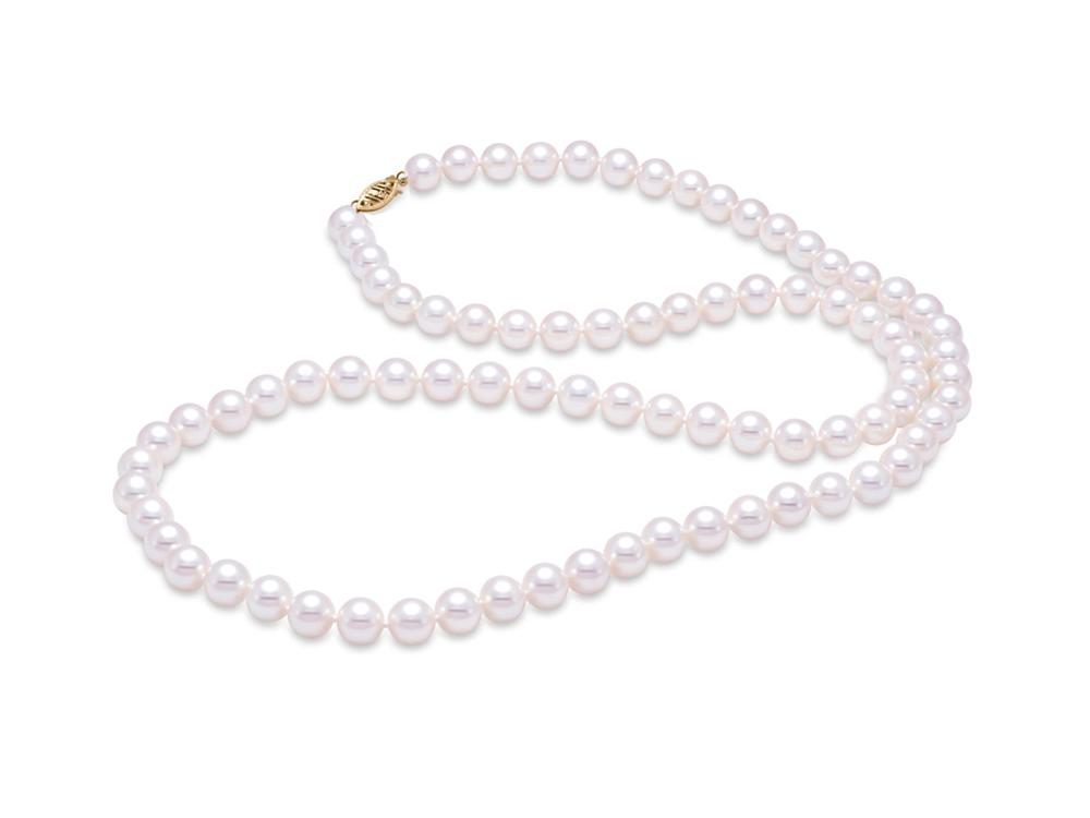 "MASTOLONI - 14K Yellow Gold 5.5-6MM White Round ""A"" Quality Freshwater Pearl Strand 24 Inches"