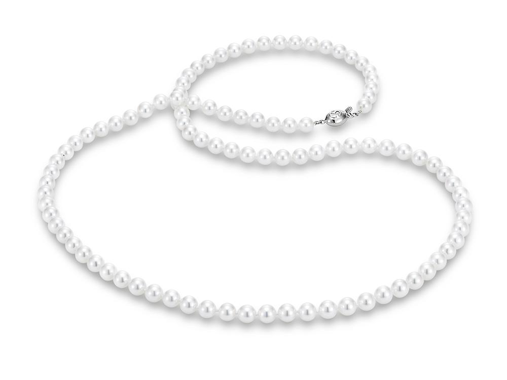 "MASTOLONI - 18K White Gold 5.5-6MM White Round ""A"" Quality Akoya Pearl Strand 24 Inches"