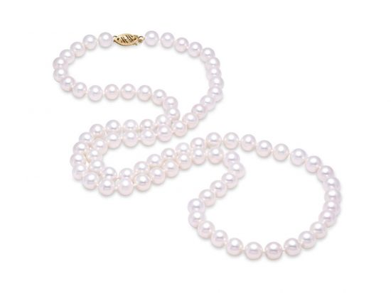 "MASTOLONI - 14K White Gold 5.5-6MM White Round ""A"" Quality Freshwater Pearl Strand 30 Inches"