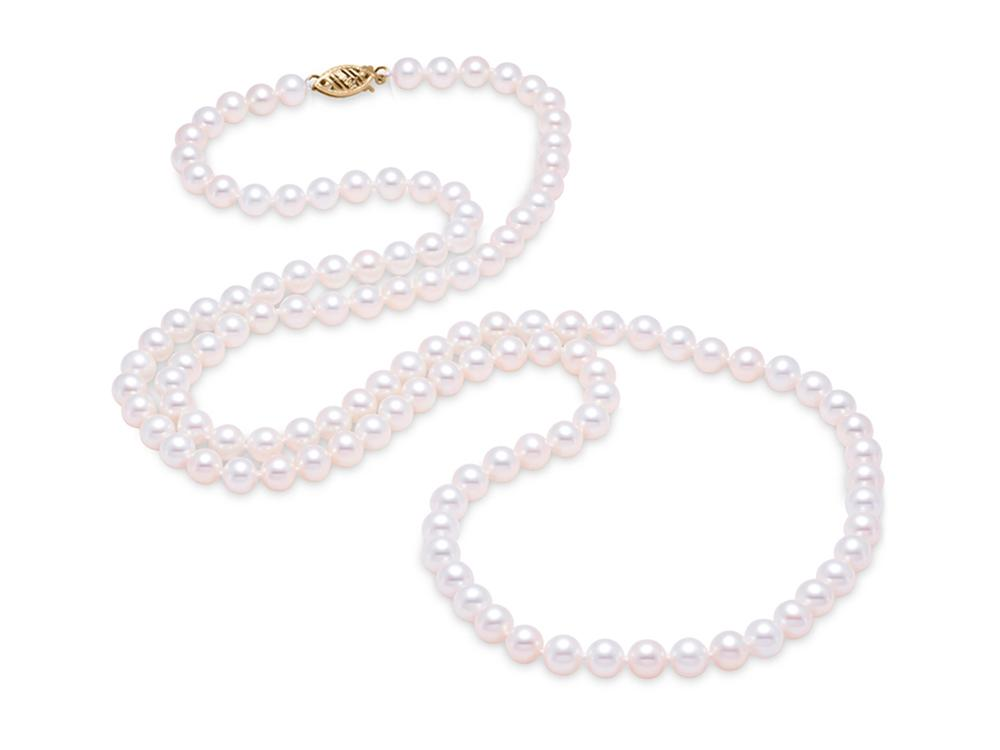 "MASTOLONI - 14K Yellow Gold 5.5-6MM White Round ""A"" Quality Freshwater Pearl Strand 34 Inches"