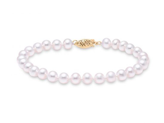 "MASTOLONI - 14K Yellow Gold 6-6.5MM White Round ""A"" Quality Freshwater Pearl Strand 7 Inches"
