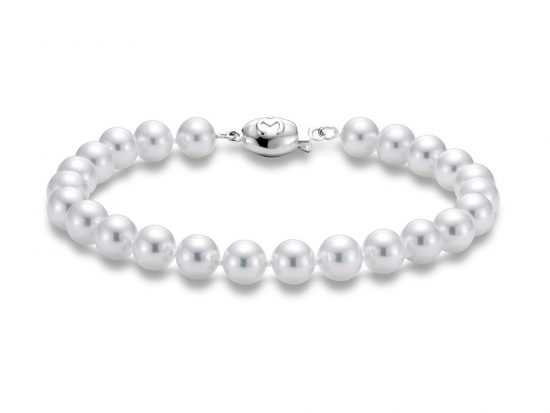 "MASTOLONI - 18K White Gold 6-6.5MM White Round ""A"" Quality Akoya Pearl Strand 7 Inches"