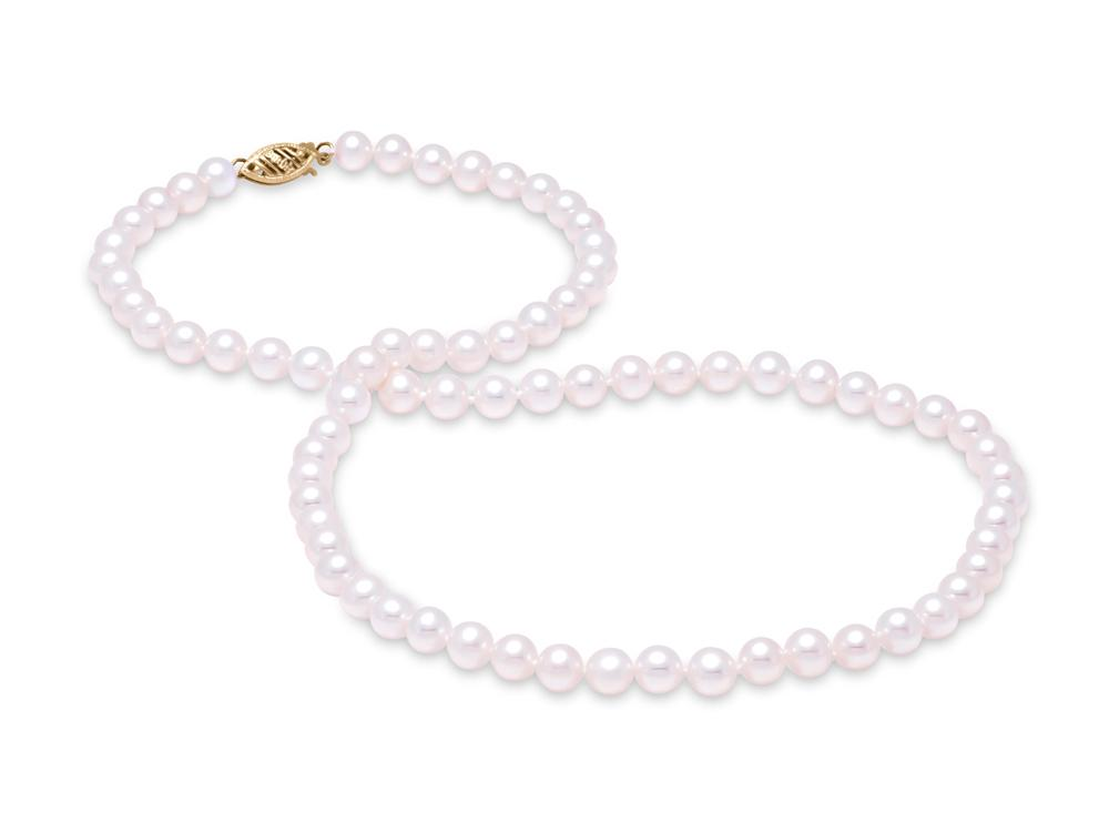 "MASTOLONI - 14K Yellow Gold 6-6.5MM White Round ""A"" Quality Freshwater Pearl Strand 18 Inches"