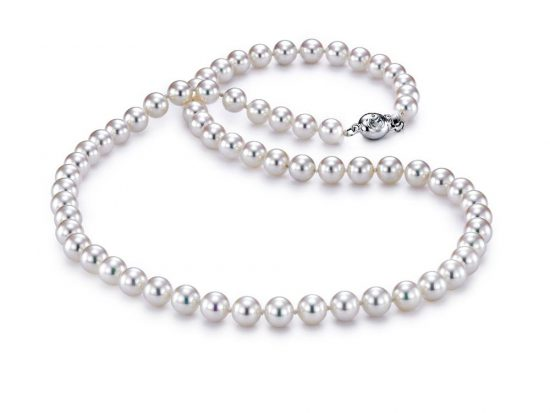 "MASTOLONI - 18K White Gold 6-6.5MM White Round ""A"" Quality Akoya Pearl Strand 18 Inches"