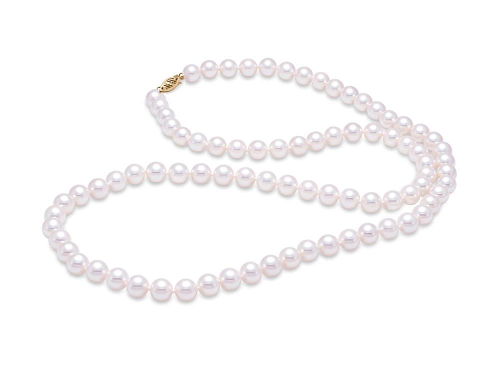 "MASTOLONI - 14K Yellow Gold 6-6.5MM White Round ""A"" Quality Freshwater Pearl Strand 24 Inches"