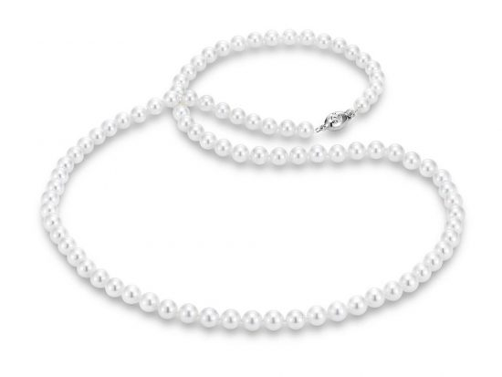 "MASTOLONI - 18K White Gold 6-6.5MM White Round ""A"" Quality Akoya Pearl Strand 24 Inches"