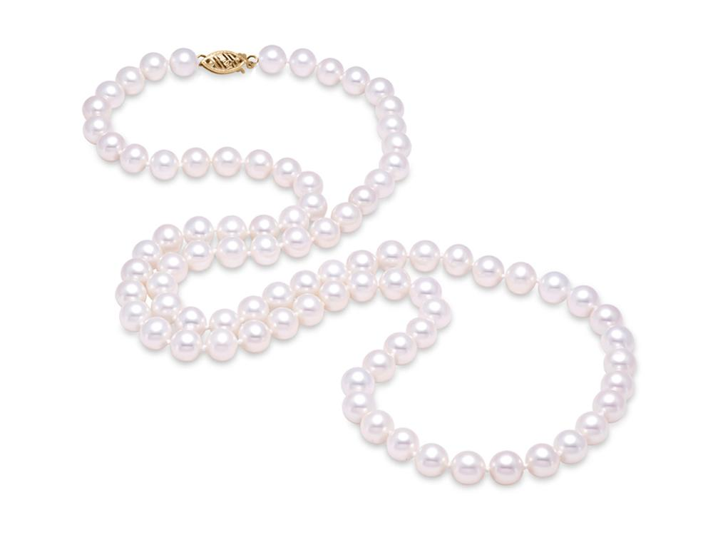 "MASTOLONI - 14K Yellow Gold 6-6.5MM White Round ""A"" Quality Freshwater Pearl Strand 30 Inches"
