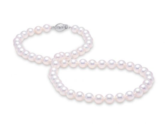 "MASTOLONI - 18K White Gold 6.5-7MM White Round ""A"" Quality Akoya Pearl Strand 16 Inches"