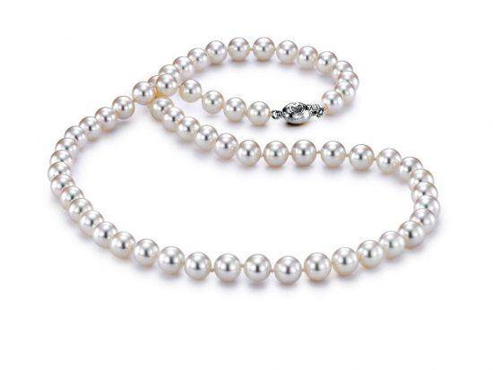"MASTOLONI - 18K White Gold 6.5-7MM White Round ""A"" Quality Akoya Pearl Strand 18 Inches"