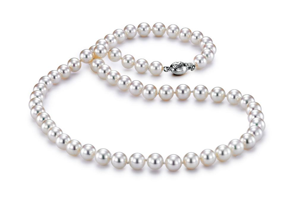 "MASTOLONI - 18K White Gold 6.5-7MM White Round ""A"" Quality Akoya Pearl Strand 18 Inches"