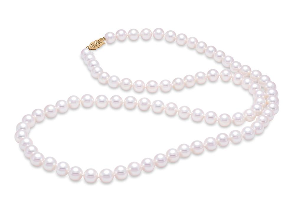 "MASTOLONI - 14K Yellow Gold 6.5-7MM White Round ""A"" Quality Freshwater Pearl Strand 24 Inches"