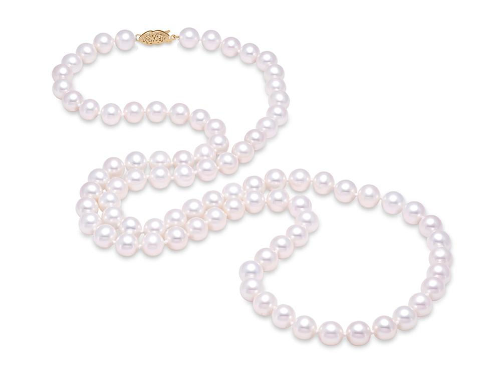 "MASTOLONI - 14K Yellow Gold 6.5-7MM White Round ""A"" Quality Freshwater Pearl Strand 30 Inches"