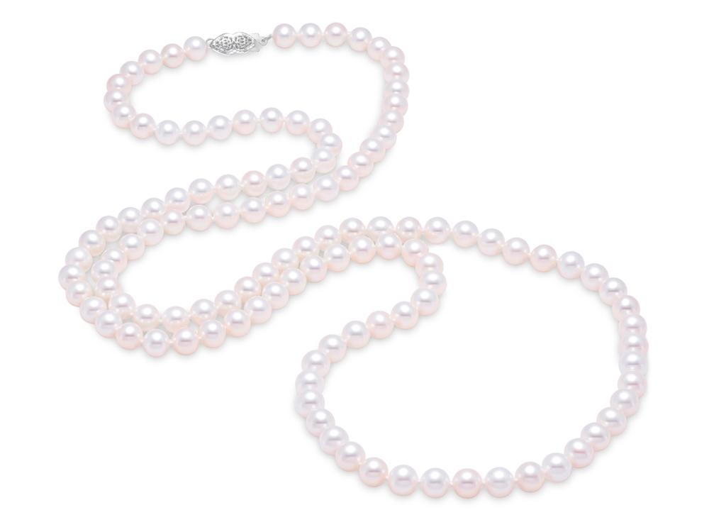 "MASTOLONI - 14K Yellow Gold 6.5-7MM White Round ""A"" Quality Freshwater Pearl Strand 34 Inches"