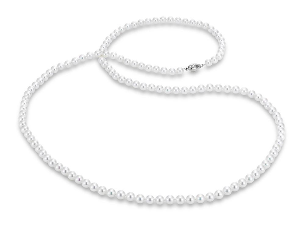 "MASTOLONI - 18K White Gold 6.5-7MM White Round ""A"" Quality Akoya Pearl Strand 34 Inches"