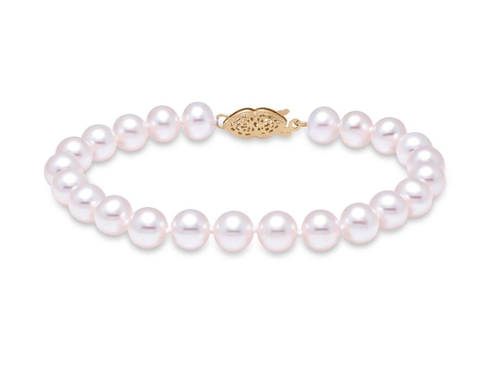 "MASTOLONI - 14K Yellow Gold 7-7.5MM White Round ""A"" Quality Freshwater Pearl Strand 7 Inches"