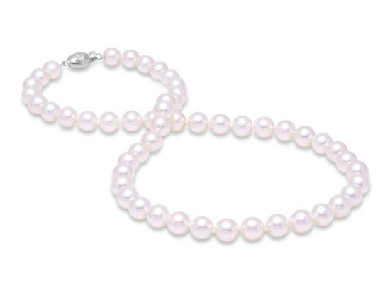 "MASTOLONI - 18K White Gold 7-7.5MM White Round ""A"" Quality Akoya Pearl Strand 16 Inches"