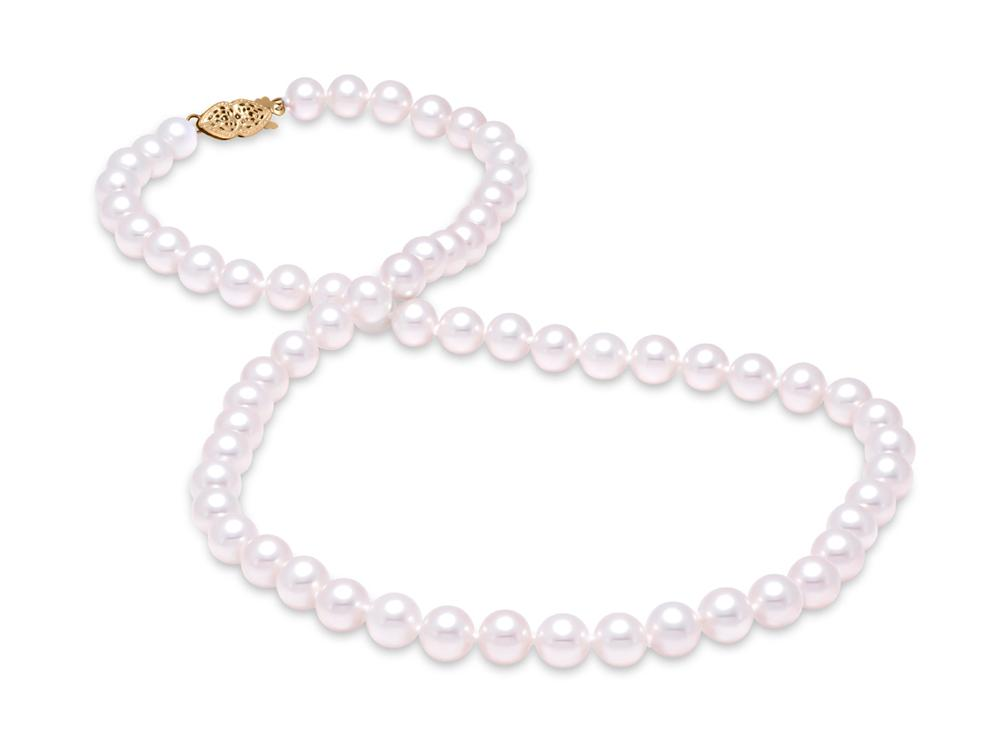 "MASTOLONI - 14K Yellow Gold 7-7.5MM White Round ""A"" Quality Freshwater Pearl Strand 18 Inches"