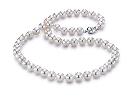 "MASTOLONI - 18K White Gold 7-7.5MM White Round ""A"" Quality Akoya Pearl Strand 18 Inches"