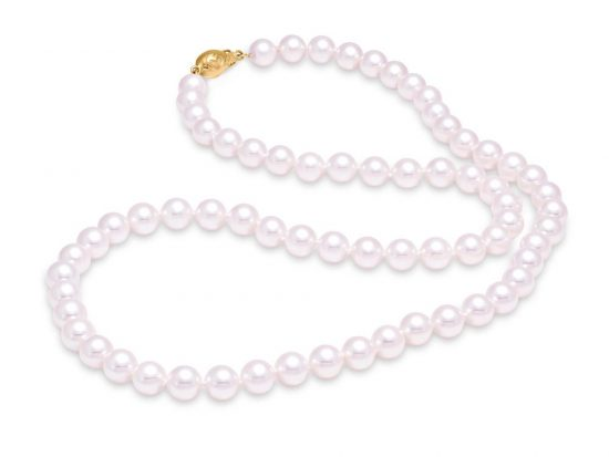 "MASTOLONI - 18K White Gold 7-7.5MM White Round ""A"" Quality Akoya Pearl Strand 20 Inches"