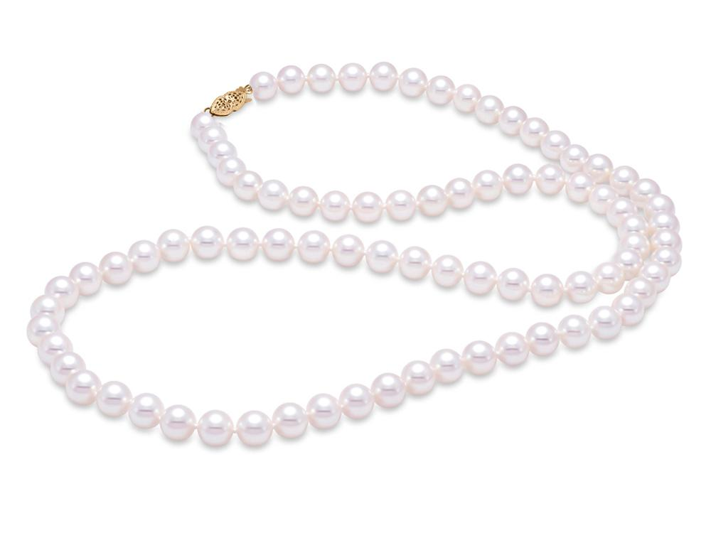 "MASTOLONI - 14K Yellow Gold 7-7.5MM White Round ""A"" Quality Freshwater Pearl Strand 24 Inches"