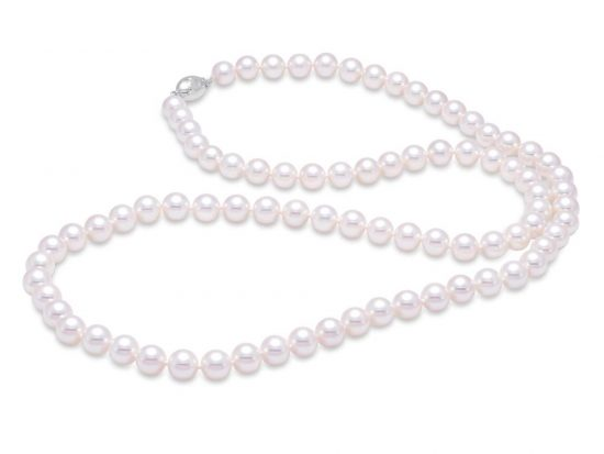 "MASTOLONI - 18K White Gold 7-7.5MM White Round ""A"" Quality Akoya Pearl Strand 24 Inches"