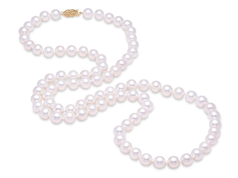 "MASTOLONI - 14K Yellow Gold 7-7.5MM White Round ""A"" Quality Freshwater Pearl Strand 30 Inches"