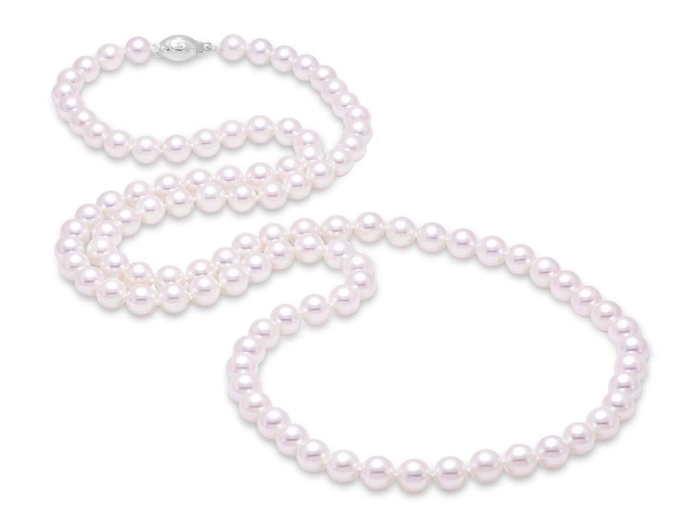 "MASTOLONI - 18K White Gold 7-7.5MM White Round ""A"" Quality Akoya Pearl Strand 30 Inches"