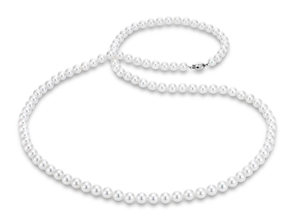 "MASTOLONI - 18K White Gold 7-7.5MM White Round ""A"" Quality Akoya Pearl Strand 34 Inches"
