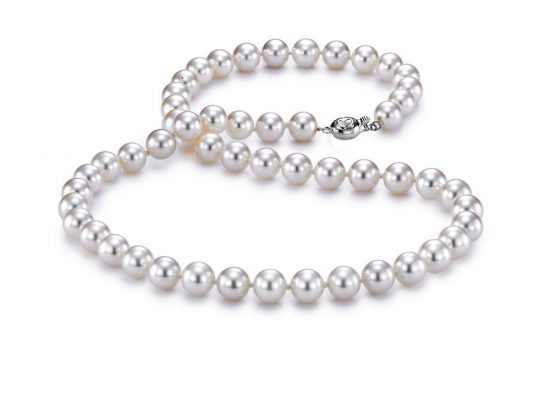 "MASTOLONI - 18K White Gold 7.5-8MM White Round ""A"" Quality Akoya Pearl Strand 18 Inches"