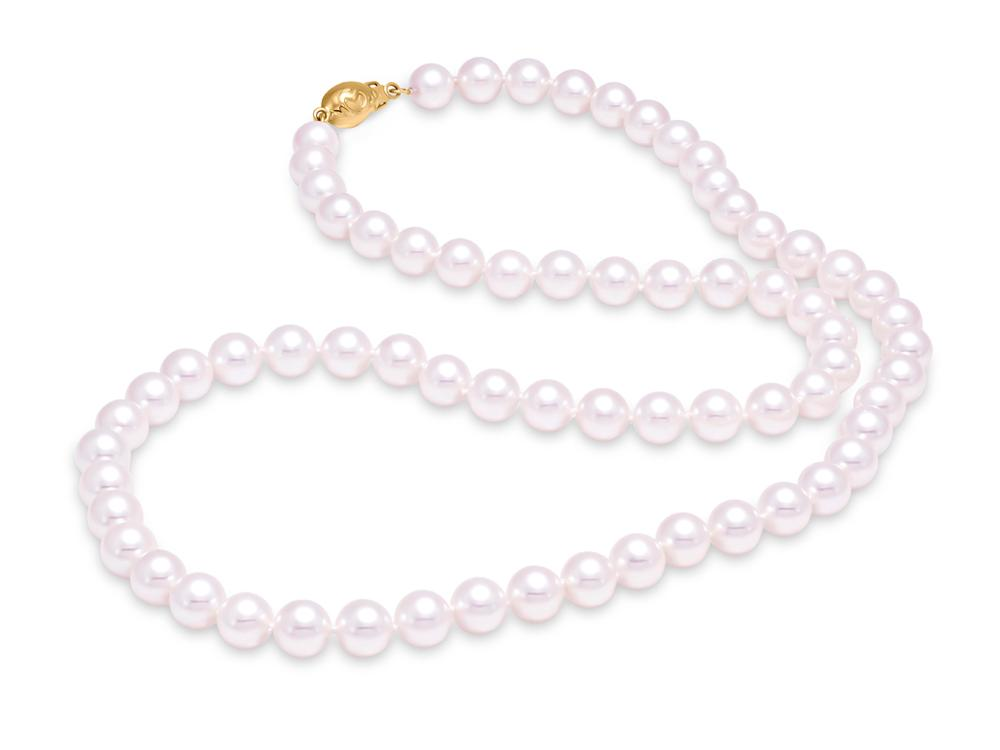 "MASTOLONI - 18K White Gold 7.5-8MM White Round ""A"" Quality Akoya Pearl Strand 20 Inches"