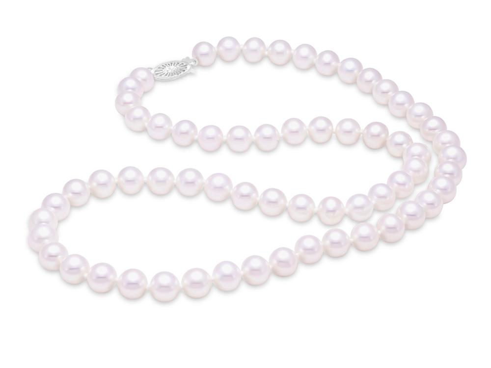 "MASTOLONI - 14K Yellow Gold 7.5-8MM White Round ""A"" Quality Freshwater Pearl Strand 20 Inches"
