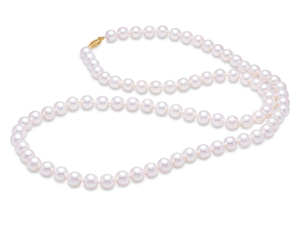 "MASTOLONI - 14K Yellow Gold 7.5-8MM White Round ""A"" Quality Freshwater Pearl Strand 24 Inches"