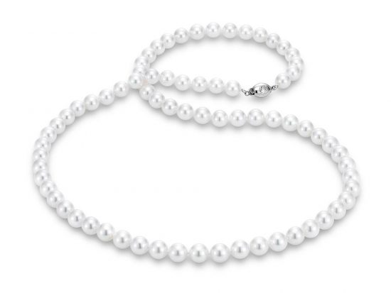"MASTOLONI - 18K White Gold 7.5-8MM White Round ""A"" Quality Akoya Pearl Strand 24 Inches"