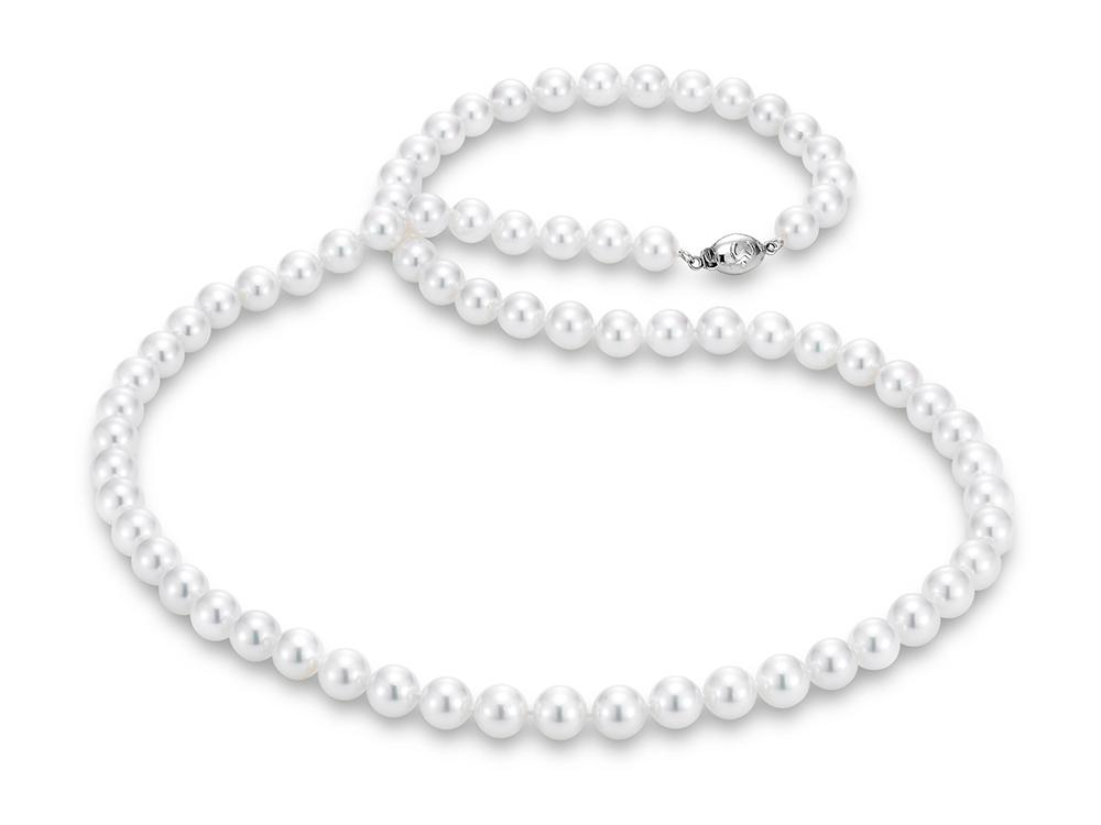 "MASTOLONI - 18K White Gold 7.5-8MM White Round ""A"" Quality Akoya Pearl Strand 24 Inches"