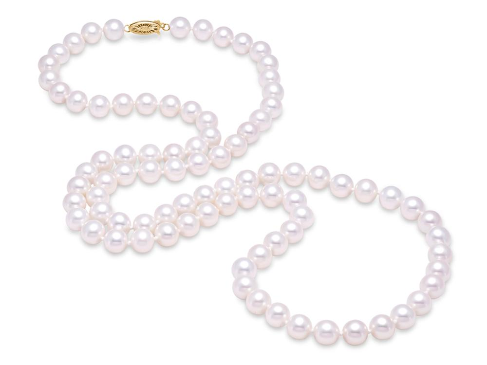 "MASTOLONI - 14K Yellow Gold 7.5-8MM White Round ""A"" Quality Freshwater Pearl Strand 30 Inches"