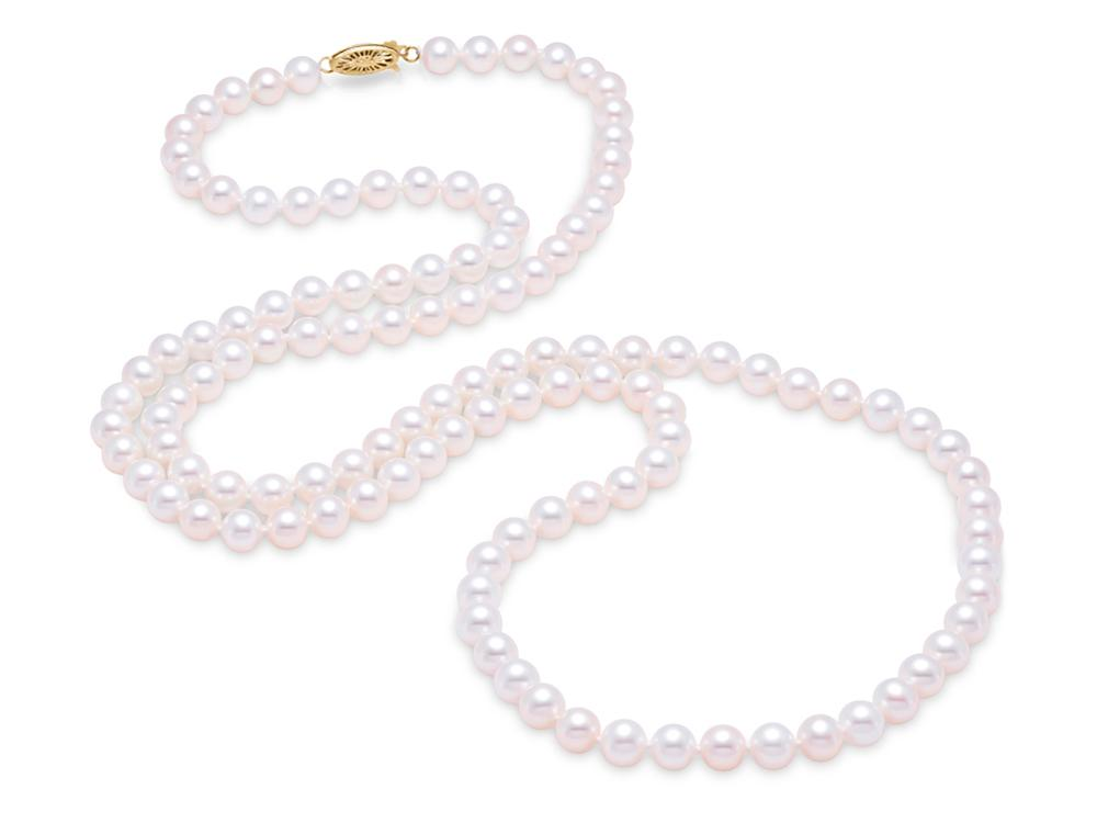 "MASTOLONI - 14K Yellow Gold 7.5-8MM White Round ""A"" Quality Freshwater Pearl Strand 34 Inches"