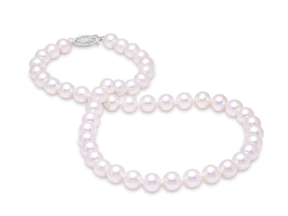 "MASTOLONI - 14K Yellow Gold 8-8.5MM White Round ""A"" Quality Freshwater Pearl Strand 18 Inches"