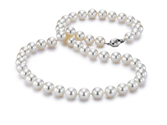 "MASTOLONI - 18K White Gold 8-8.5MM White Round ""A"" Quality Akoya Pearl Strand 18 Inches"