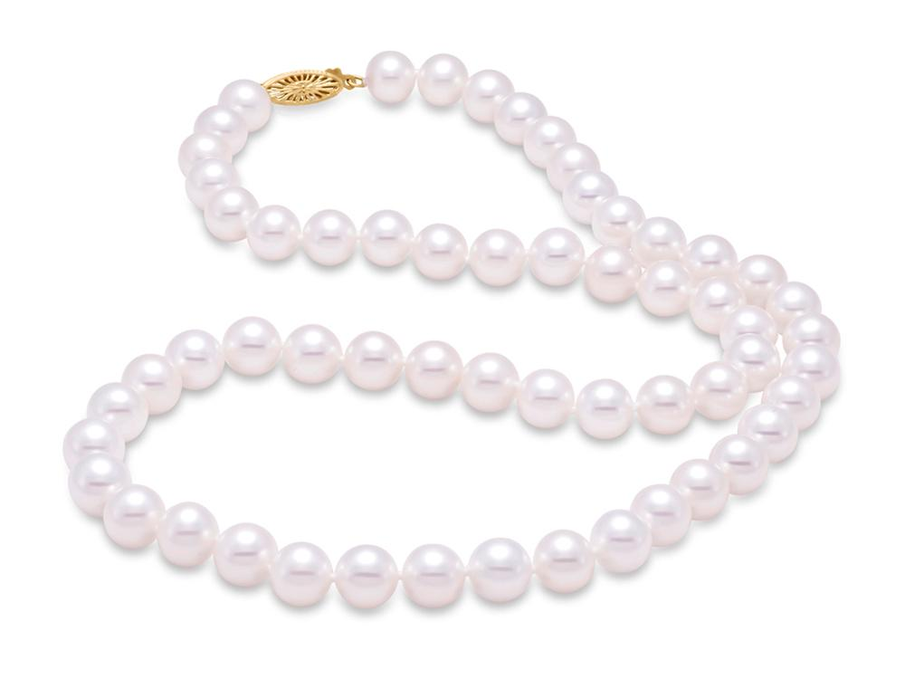 "MASTOLONI - 14K Yellow Gold 8-8.5MM White Round ""A"" Quality Freshwater Pearl Strand 20 Inches"