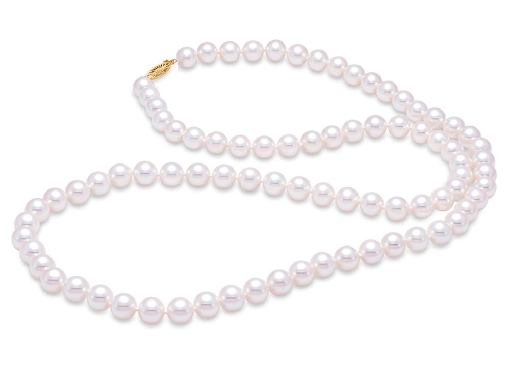 "MASTOLONI - 14K Yellow Gold 8-8.5MM White Round ""A"" Quality Freshwater Pearl Strand 24 Inches"